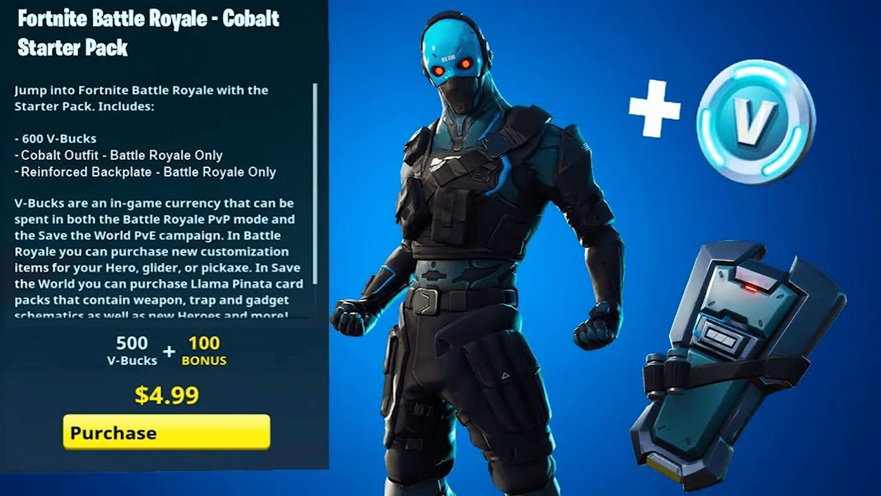 fortnite starter pack 5 mit kobalt skin - fortnite wann kommt welcher skin