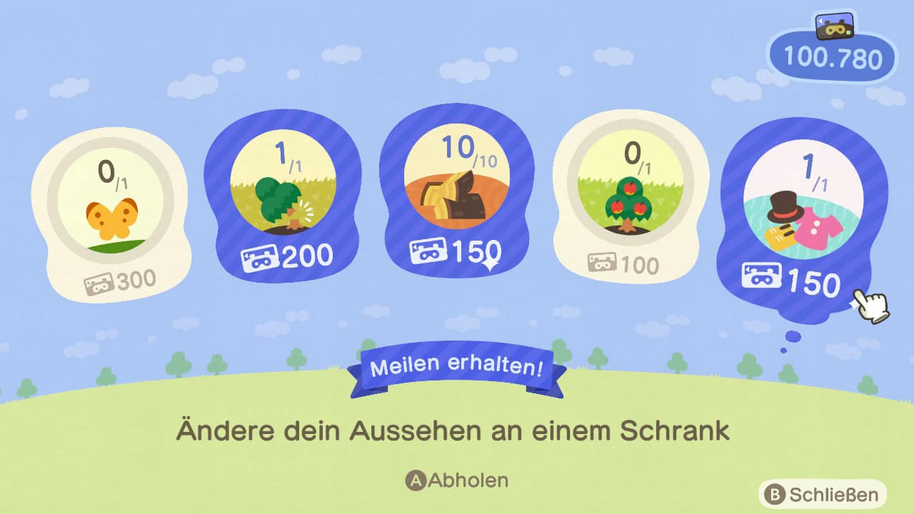 Animal Crossing New Horizons Meilen sammeln