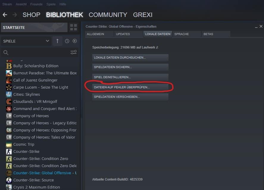 CS GO Spieldateien überprüfen VAC was unable to verify